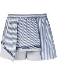 Thakoon Addition Asymmetric Layer Striped Shorts Blue