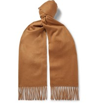Johnstons Of Elgin Fringed Tartan Cashmere Scarf Brown