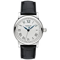 Montblanc 107115 Men's Star Date Automatic Stainless Steel Alligator Strap Watch Black Silver