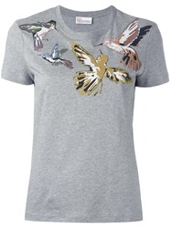 Red Valentino Bird Print T Shirt Grey