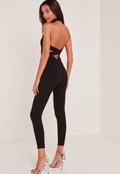 Missguided Black Crepe High Neck Jumpsuit