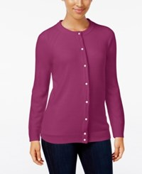 Karen Scott Petite Crewneck Cardigan Only At Macy's Raspberry