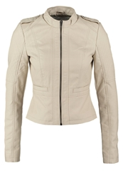 Noisy May Nmmacy Faux Leather Jacket Oatmeal Off White