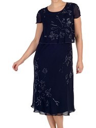 Chesca Embroidered Layer Dress Navy