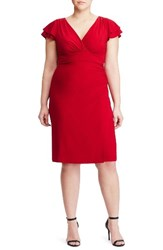 Lauren Ralph Lauren Plus Size Women's Flutter Sleeve Jersey Sheath Dress Barolo Red