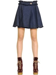 See By Chloe See By Chloe Fringed Cotton Denim Skort