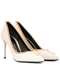 Tom Ford Leather Zip Up Pumps White