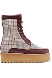 Gabriela Hearst David Leather Trimmed Checked Wool Platform Ankle Boots Burgundy