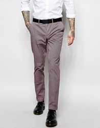 Sisley Slim Fit Suit Trousers In Micro Check Burgundy Red