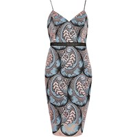 River Island Womens Blue Plant Print Lace Panel Bodycon Dress