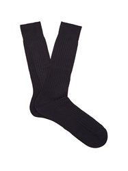 Pantherella Danvers Ribbed Knit Socks Navy