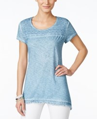 Styleandco. Style And Co. Crochet Trim Top Only At Macy's Blue Fog