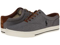 Polo Ralph Lauren Vaughn Grey Chambray Herringbone Sport Suede Men's Lace Up Casual Shoes Gray