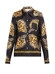Gucci Floral Print Silk Twill Shirt Black Gold