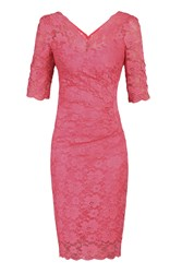 Jolie Moi 3 4 Sleeve V Neck Ruched Lace Dress Pink