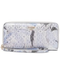 Guess Winett Large Zip Around Wallet Blue Floral