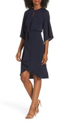 Maggy London Feather Crepe Tie Front Dress Navy