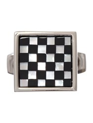 Simon Carter Small Square Checkers Cufflink Mother Of Pearl