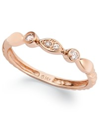 Macy's 14K Rose Gold Diamond Accent Cable Ring