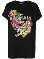 Balmain Multicoloured Sequined And Embroidered T Shirt Black