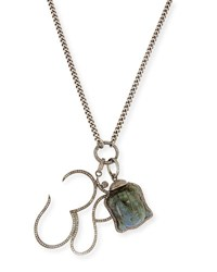 Sheryl Lowe Carved Labradorite Buddha And Diamond Pave Om Pendant Necklace
