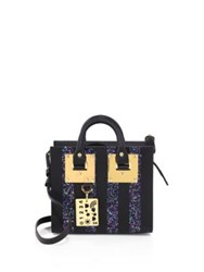 Sophie Hulme Albion Box Striped Glitter And Leather Tote Navy Glitter
