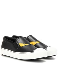 Fendi Leather Slip On Sneakers Black