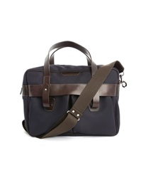 Hackett Blue And Brown Leather Briefcase And Computer Carrier