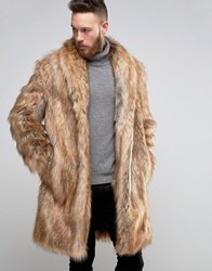 Asos Heavyweight Faux Fur Overcoat Brown
