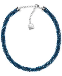 Anne Klein Bead And Crystal All Around Collar Necklace Blue