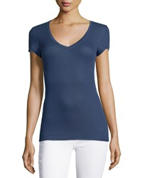 Bcbgmaxazria Liana Ribbed V Neck Tee Ink