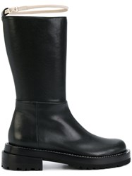 Marni Contrast Buckle Boots Leather Rubber Black