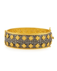 Freida Rothman Belargo Floral And Pave Cz Wide Bangle