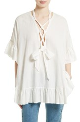 See By Chloe Women's Lace Up Stretch Cotton Tunic