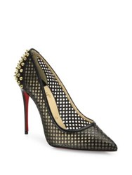 Christian Louboutin Guni 100 Spiked Perforated Leather Point Toe Pumps