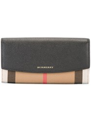 Burberry Check Detail Wallet Black