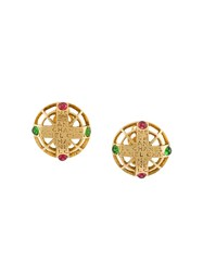 Chanel Vintage Gripoix Byzantine Clip On Earrings Metallic