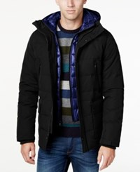 Michael Kors Men's Hooded Puffer Coat With Attached Bib Black Grey