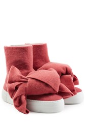 Joshua Sanders Felted Wool Platform Boots With Bows Rose