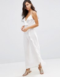Asos Wrap Front Frill Maxi Beach Dress Cream