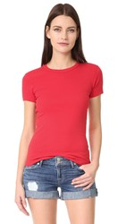 Three Dots Short Sleeve Crew Neck Tee Hibiscus Red