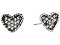 Marc Jacobs Mj Coin Heart Studs Earrings Crystal Silver