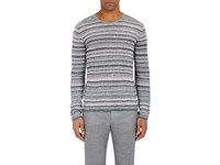 John Varvatos Star U.S.A. Men's Variegated Stripe Linen Sweater Blue