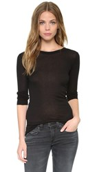 Enza Costa Bold Long Sleeve Crew Neck Tee Black