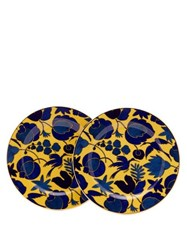 La Doublej Set Of Two Wildbird Porcelain Dessert Plates Yellow Print