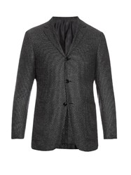 Ermenegildo Zegna Single Breasted Wool And Silk Blend Blazer Grey Multi