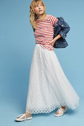 Anthropologie Dotted Tulle Maxi Skirt Ivory