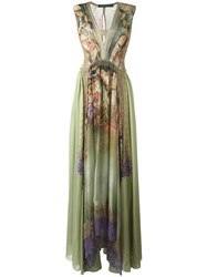 Alberta Ferretti Shells Print Flared Dress Green