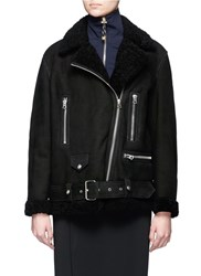 Acne Studios 'More She Sue' Lambskin Shearling Motorcycle Jacket Black