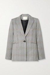Maje Checked Woven Blazer Gray